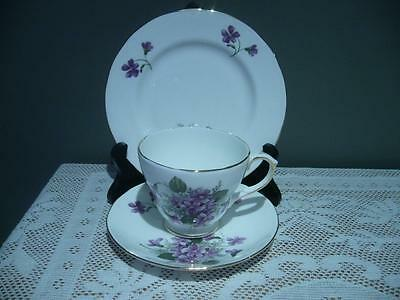 Duchess China England Lovely Purple Violets Trio - Very Good Condition