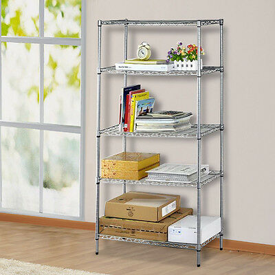 AU 5-Tier Adjustable Layer Shelving Unit Steel Wire Metal Rack Display Shelf