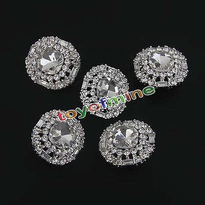 5pcs Silver Rhinestone Crystal Round Shank Buttons