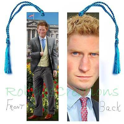 PRINCE HARRY BOOKMARK w/Tassel Royalty ART Book Card-Brother PRINCE WILLIAM KATE