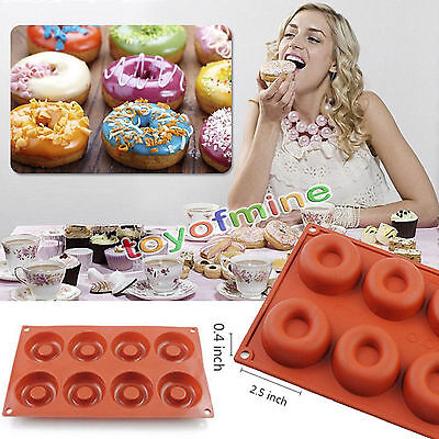 8 Cups Donut Silicone Cake Mold Baking Chocolate Candy Jelly Ice Muffin Pan