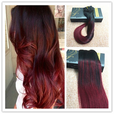Ombre Burg Clip in Human Hair Extensions Brazilian Remy Human Hair 7pcs/100g