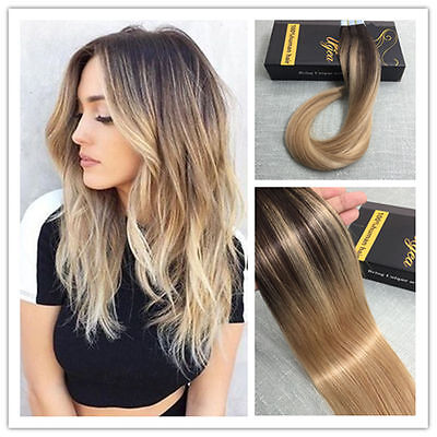 Ombre Balayage Clip in Human Hair Extensions Brazilian Remy Hair Extensions 7pcs