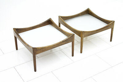 Pair of Rosewood and Aluminum Side Tables by Kristian Solmer Vedel, Denmark 1963
