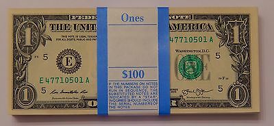 100x Uncirculated $1 Federal Reserve Note US Currency One Dollar Bill BEP Pack