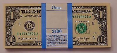 100x Uncirculated $1 Sequential Serial Note US Currency One Dollar Bill BEP Pack