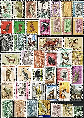 Thematics.  Selection of 44 Animals on Stamps from around the World.