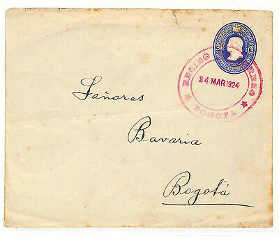 UU439 1924 COLOMBIA 3c Postal Stationery Env *Bogota* Purple Rubber CDS Scarce