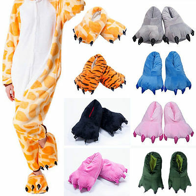 Adult/Kids Cute Animal Slippers Dinosaur Claw Paw Indoor Shoe Costume Xmas Gifts