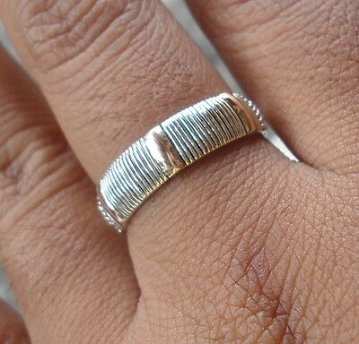 925 Sterling Silver-LH90-Balinese Handcrafted Ring & Gold 22kt Size 7