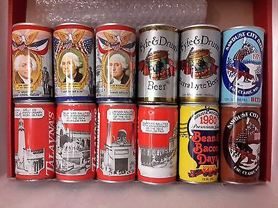 12 Different American Steel Beer Cans ( Lot E)