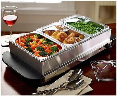 Boxed Scotts Of Stow HD 9003A 3 x 1.5L Stainless Steel Buffet Food Warmer 200W