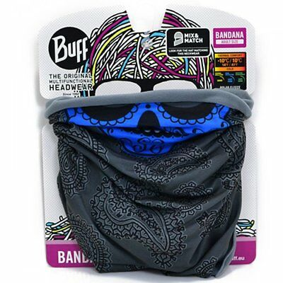 Buff Bike Polar Multi Functional Neck Warmer Headwear Scarf, Blue x Dark Grey