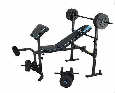 NEW Mens Health Folding Bench 35kg Weights Home Gym Equipment Fitnes