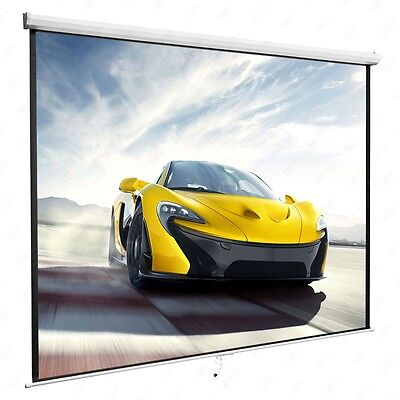 "120"" 1:1 White Projection Screen Matte Manual Pull Down Home HD Movie Theater"