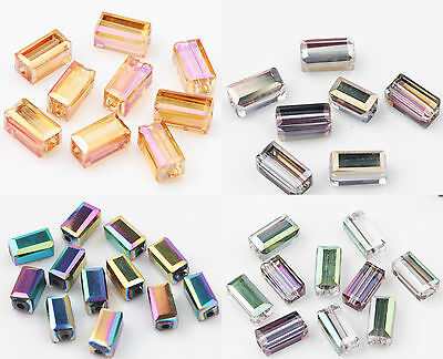 Wholesale 20/40Pcs Faceted Square Glass Crystal Loose Spacer Craft Beads DIY