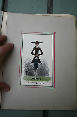 1860s Victorian  Ladies Artwork Album numerous anthropomorphic pen ink sketches.