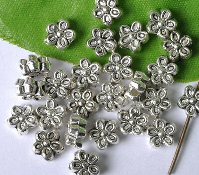 FREE SHIP 20pcs Tibetan Silver flower Loose Spacer Beads 7MM JK0278