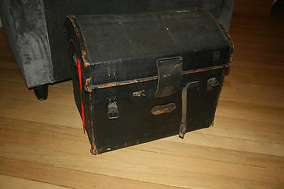 dome-top leather canvas coach trunk very early 19th century  FILM PROP ideal