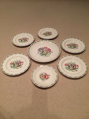 Susie Cooper Parrot Tulip Pattern Plates And Cups