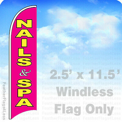 Nails And Spa Windless Standard Size  Swooper Flag Sign Banner Pk of 3