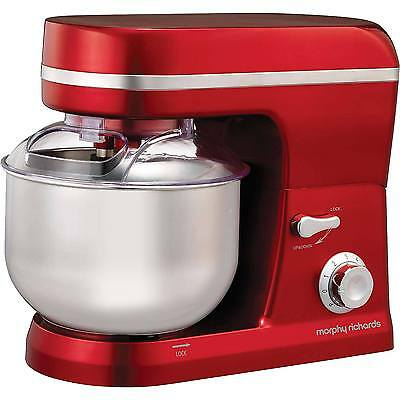 Morphy Richards 400010 5L 800W 6 Settings Accents Stand Mixer in Metallic Red