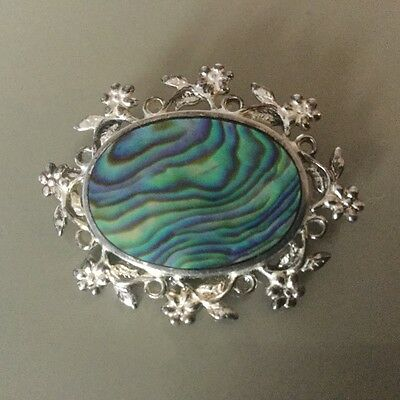 VINTAGE ATAAHUA ABALONE STERLING SILVER BROOCH - 11g - NEW ZEALAND SILVER BROOCH