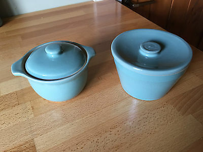 Pair of Green Denby Bowls / Pots with Lids