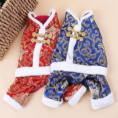 Satin Plush Pet Dog Puppy Chinese New Year Traditional Tang Suit Clothes Coat