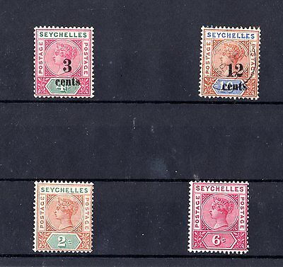 Seychelles QV Small Collection of 4 Values Mint/VFU X4665