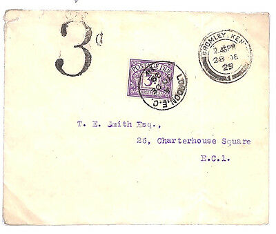 D4 1929 GB POSTAGE DUES Bromley Kent LATE USE Victorian *3d* Handstamp Unusual E
