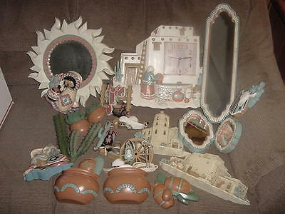 Homco spanish clock , plaque and wall decor large lot all pictured,mirrors -3