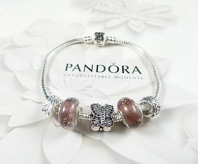 Pandora Bracelet with Authentic Pave Butterfly & Murano beads