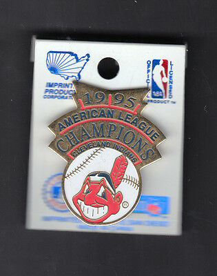 Cleveland Indians 1995 American League Champions 1 inch Pin Large Chief Wahoo