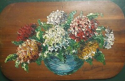 OIL ON BOARD PAINTING by JOHN BAILEY A STILL LIFE STUDY OF FLOWERS