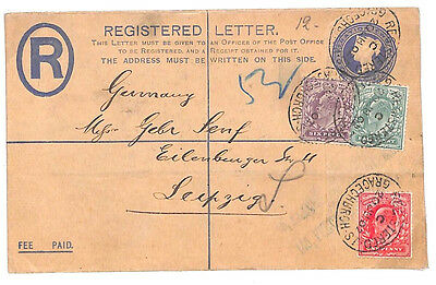 E24 1902 GB EARLY KEVII FRANKING Superb Early Combination QV Registered Envelope