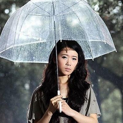 Clear Mushroom Umbrella Handle Transparent Dome See Through Walking Umbrella