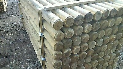 2.4M X 100Mm Machined Round Pointed Garden Timber Fence Post Tree Stakes