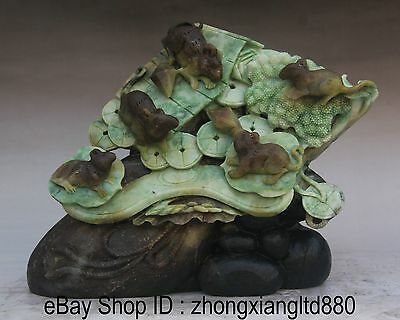 """11"""" China Natural Du Shan Jade Mouse Mice Coin Wealth Stone Ru Yi Family Statue"""