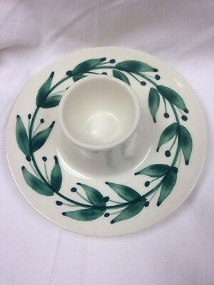 Jersey Pottery Green Egg Cup with Integral Saucer