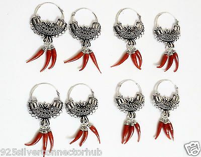 Red Hot Chilly Wholesale Lot 4-PSC Coral .925 Sterling Silver Plated Earring