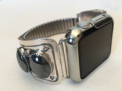 Sterling Silver and Hematite Handmade band for Apple Watch Native AmericanNavajo