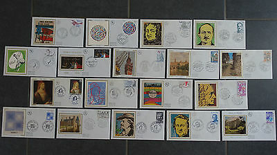 FRANCE FDC 18 Enveloppes 1er Premier Jour SOIE ANNEE 1980 - Collection Timbre