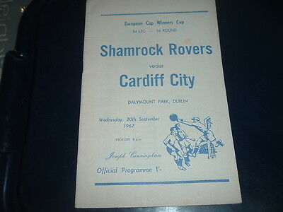 Shamrock Rovers v Cardiff City Sept 1967 European Cup Winners Cup