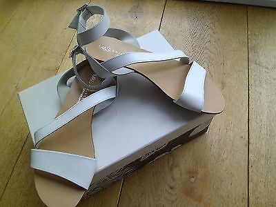 White strappy Leather flat sandals- BNWT by M&S Collection. Size 3