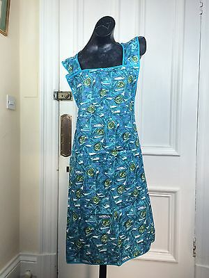 Vintage Apron Utility Blue 1950s Abstract Fabric Mid Century Modern Dress Cotton