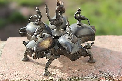 Antique Vintage Brass Indian Peacock Travelling Spice Box Hindu Ritual Box