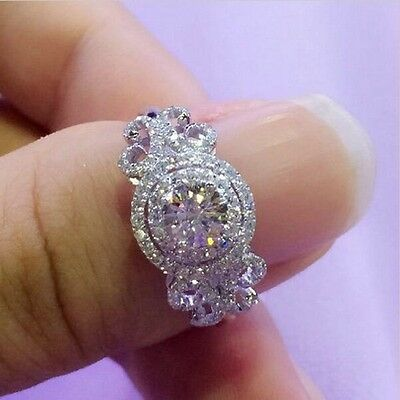 Fine Engagement Jewelry Women 6mm White sapphire Cz 925 Silver Wedding Band Ring