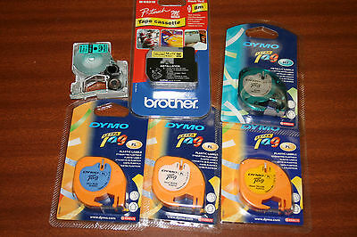 Group of 4 Dymo LetraTag Label Tape and 1 Brother Tape  Cassette