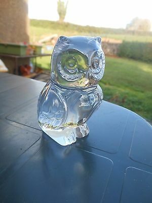 Sparkling 24% Lead Crystal Glass OWL Paperweight Princess House label W.Germany